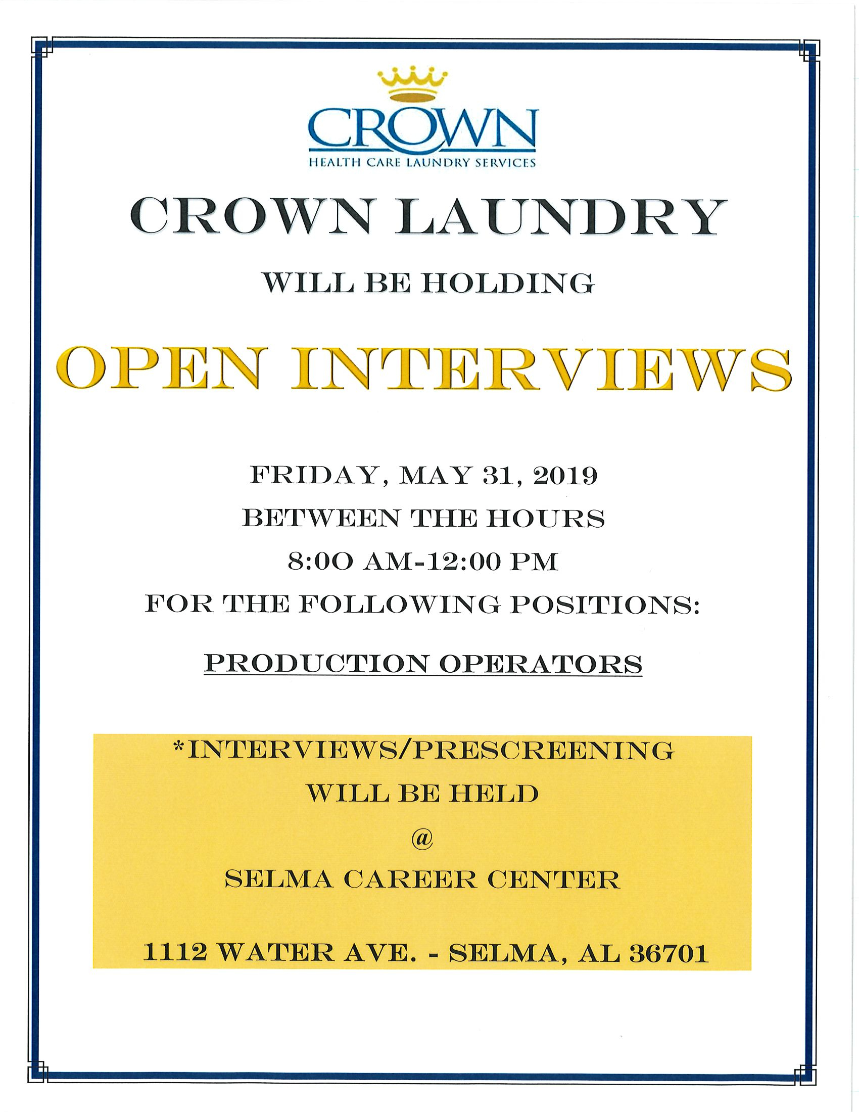 Crown Laundry Open Interviews