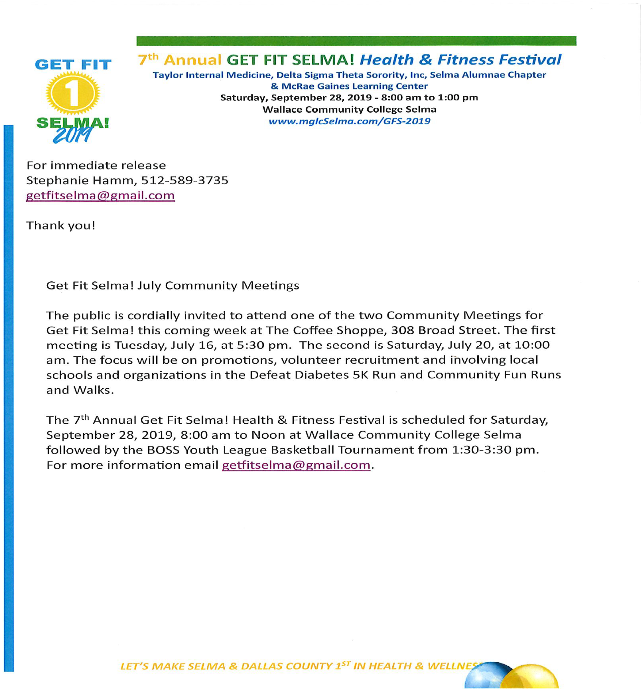 Get Fit Selma July Community Meeting
