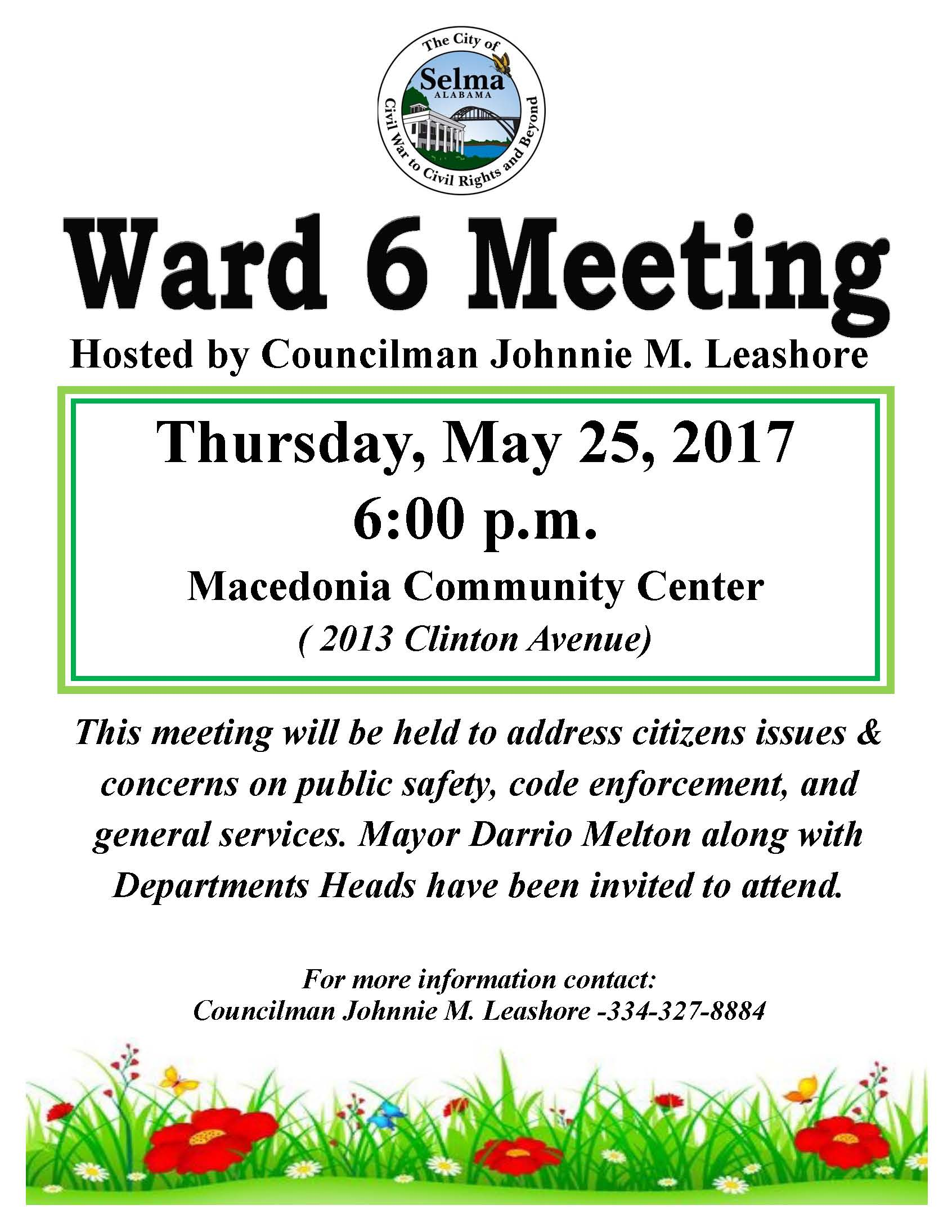 Leashore Ward 6 Meeting Flyer 5.25.17