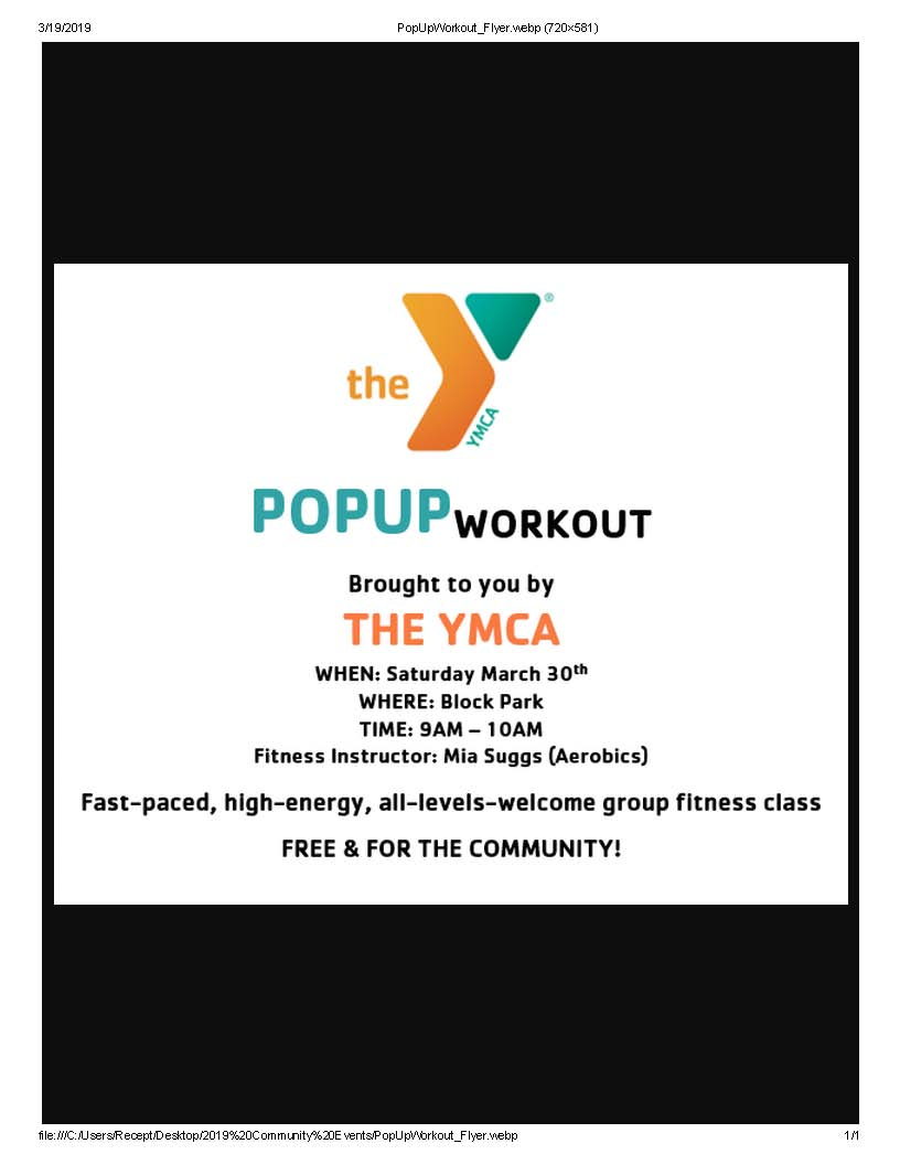 PopUpWorkout Flyer