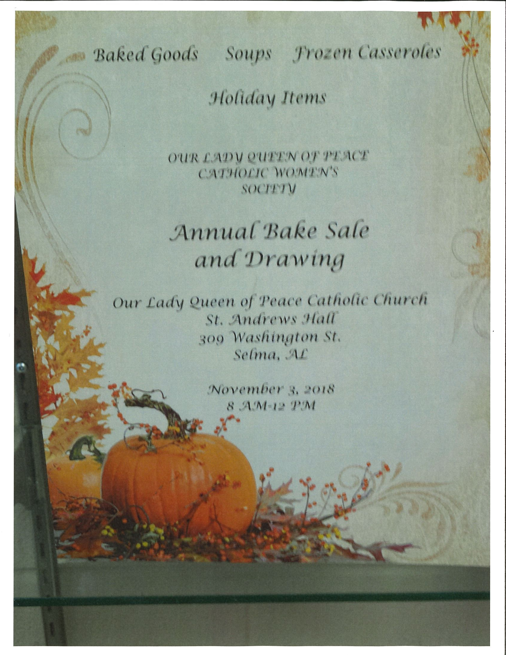 Queen of Peace Annual Bake Sale