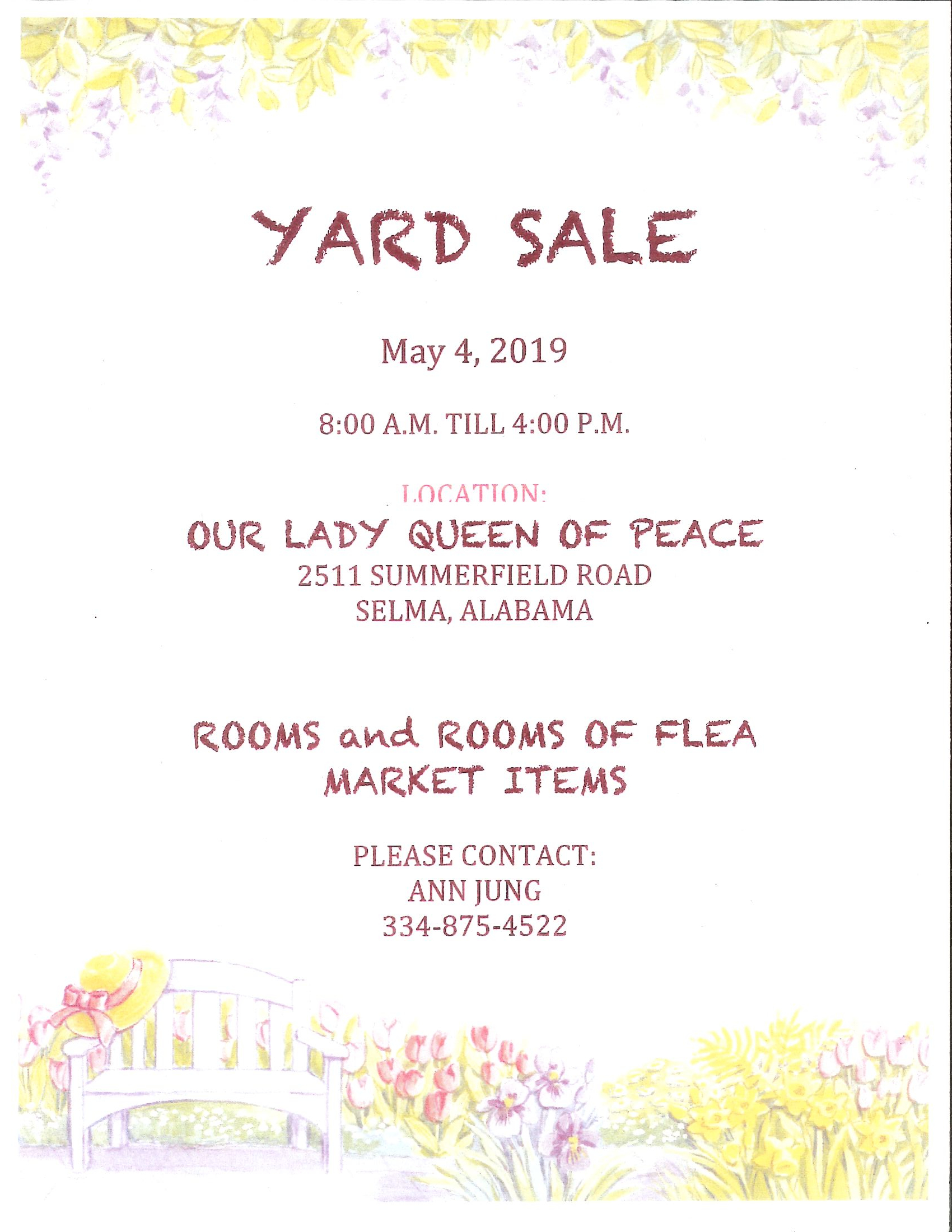 Queen of Peace Yard Sale