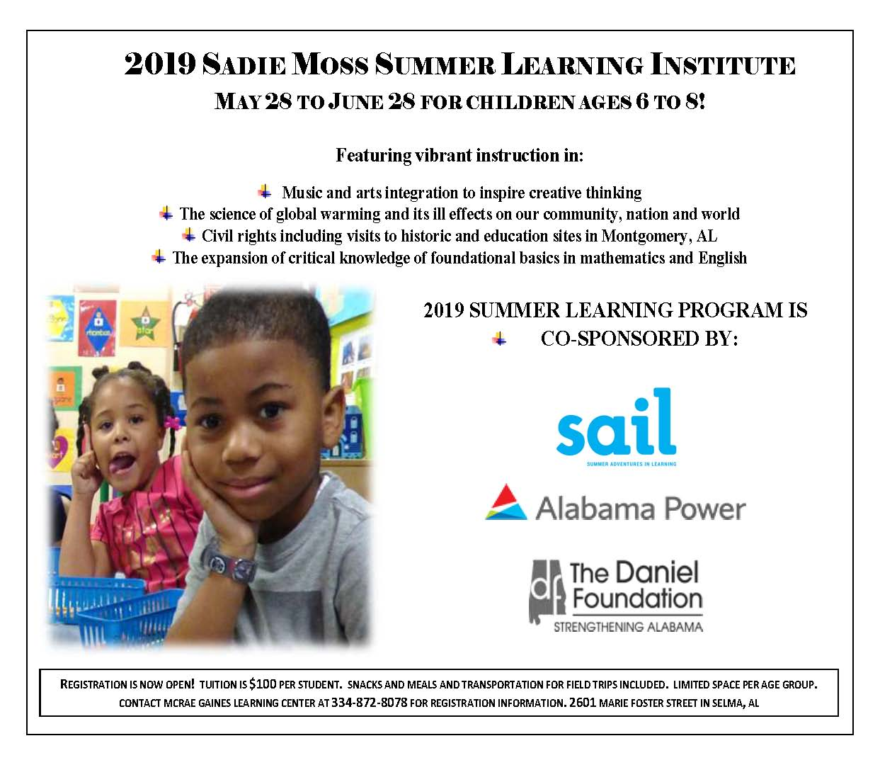 Sadie Moss Summer Learning Flyer sdh