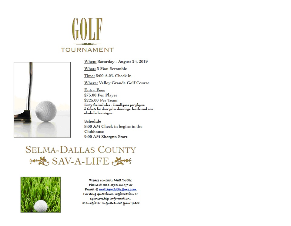 Sav A Life Golf Tournamment Flyer