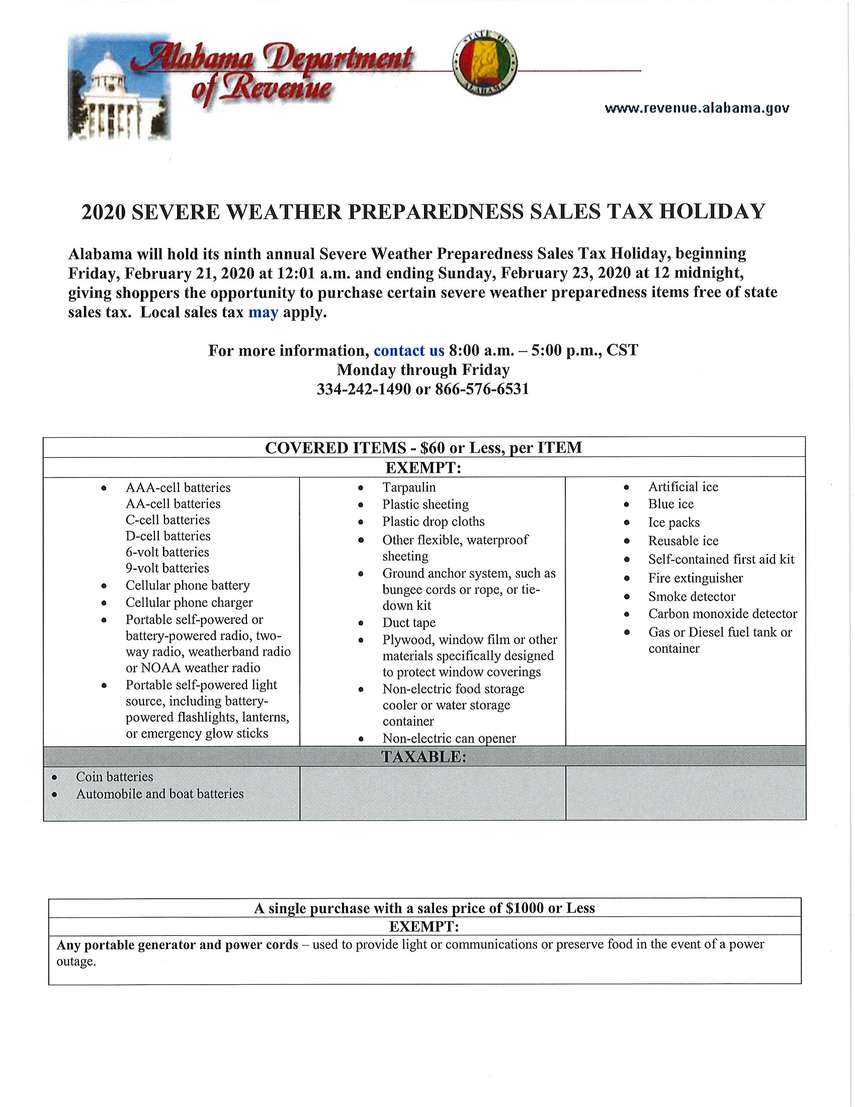 Severe Weather Sales Tax Holiday 2