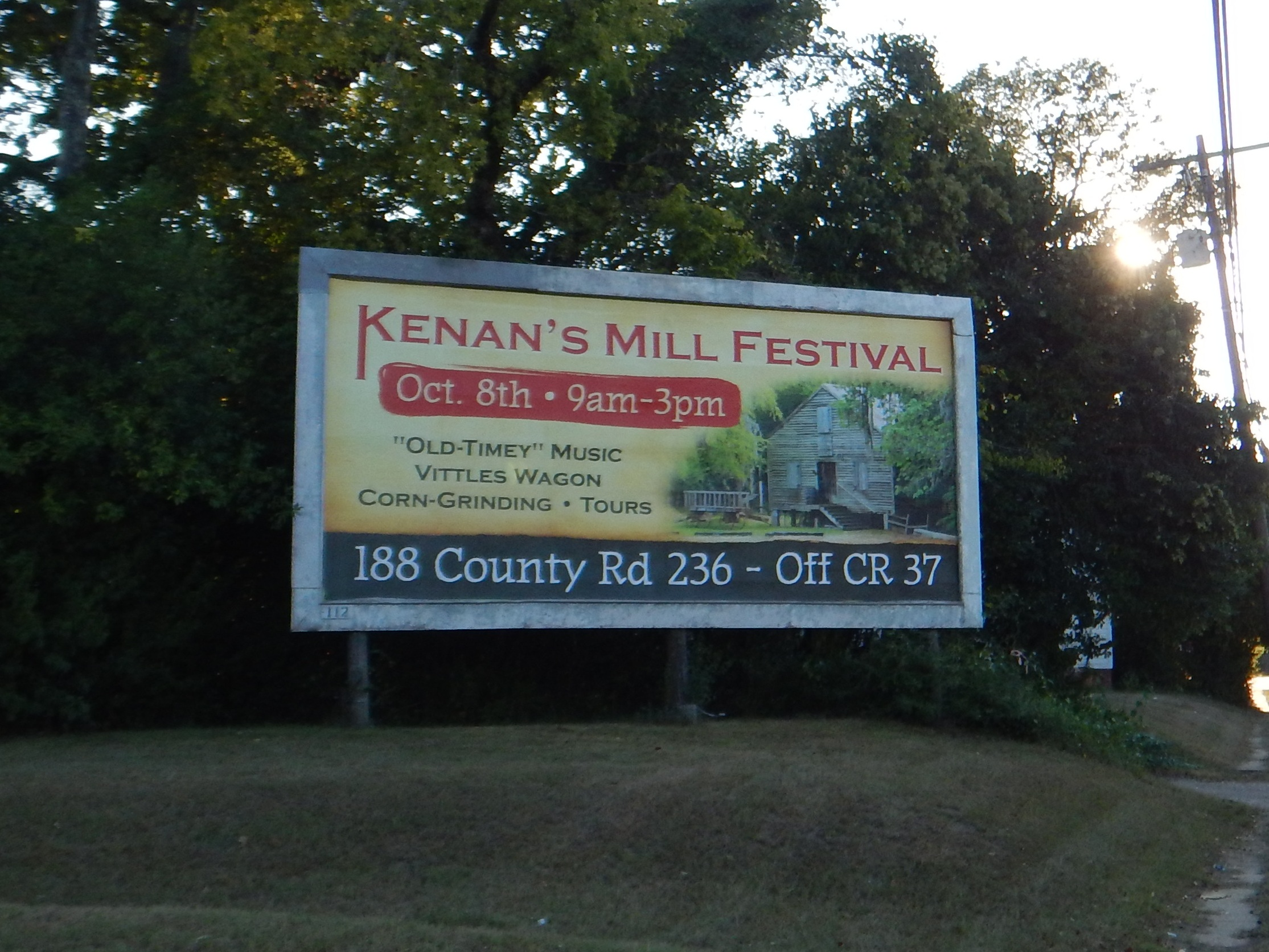 9 15 2016 photo of Kenans Mill billboard from Studio 205