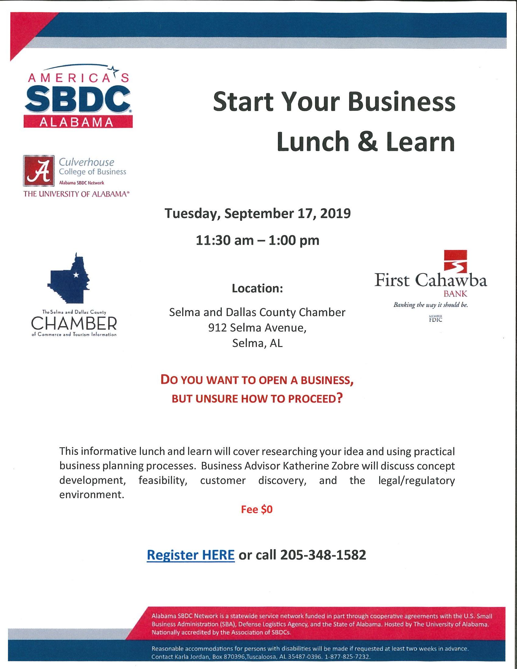 Start Your Business Lunch and Learn September 2019
