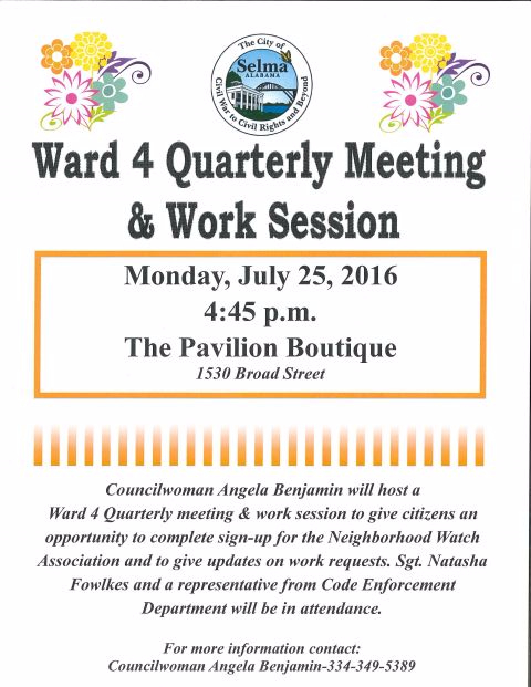 Ward 4 Meeting and Work Session
