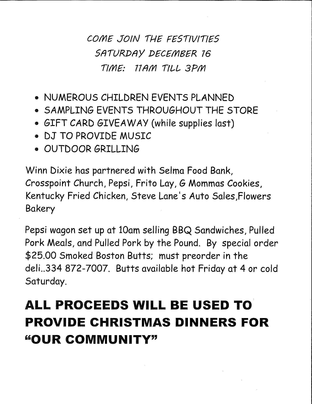 Winn Dixie Christmas Fundraiser