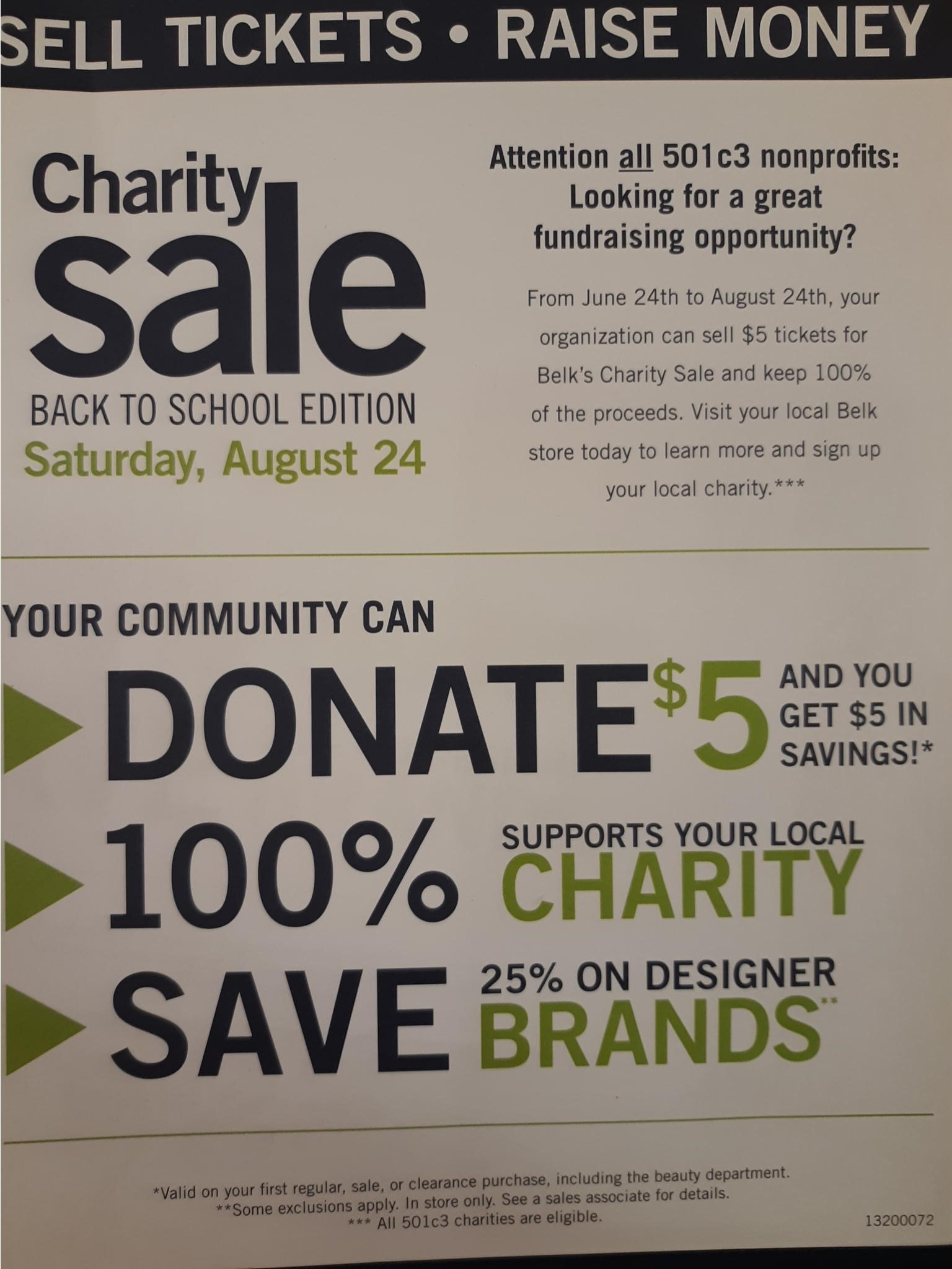 Belk Charity Sale Signup