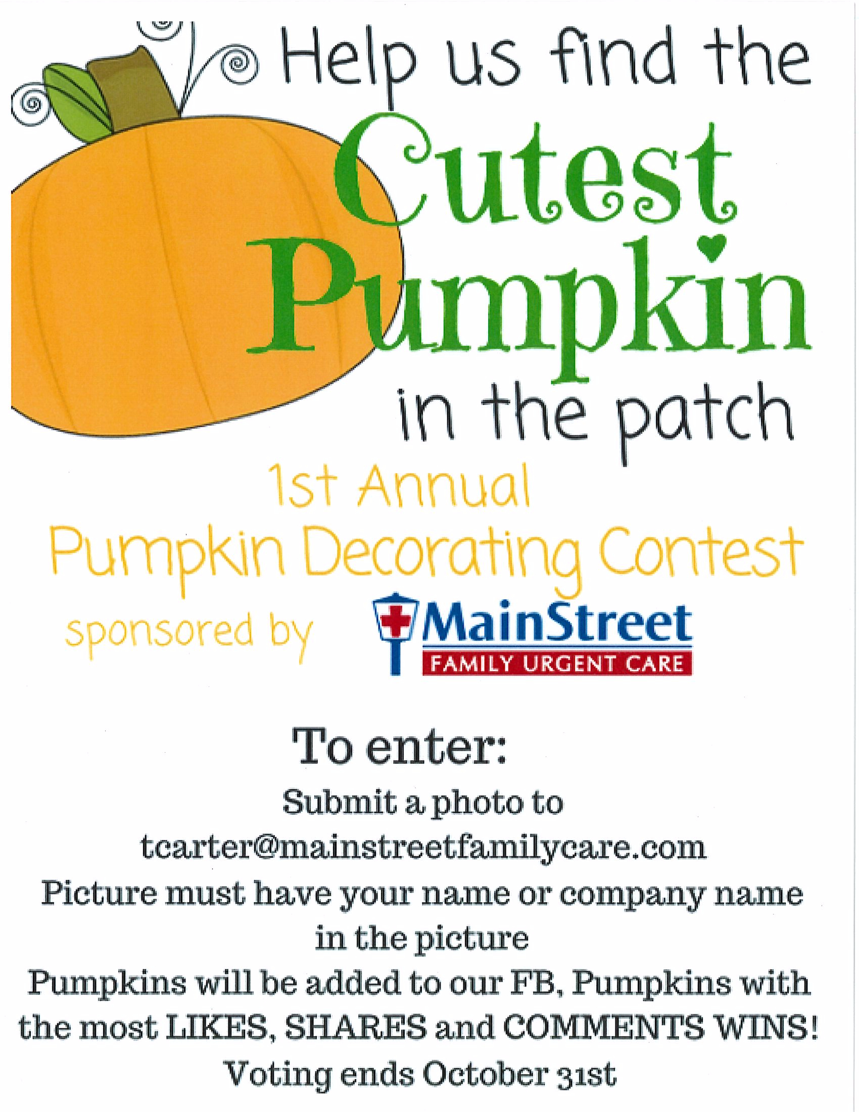 MainStreet Urgent Care Pumpkin Contest