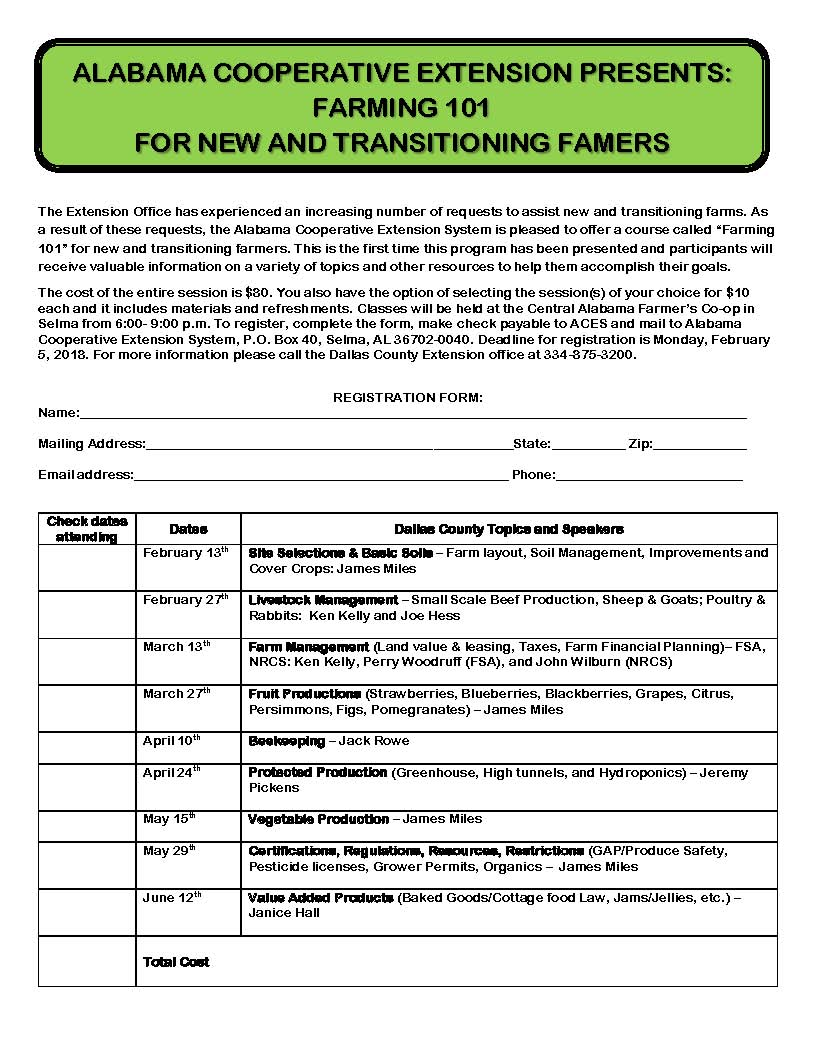 Selma dallas county chamber of commerce alabama cooperative extension presents farming 101 for new and transitioning farmers aiddatafo Choice Image