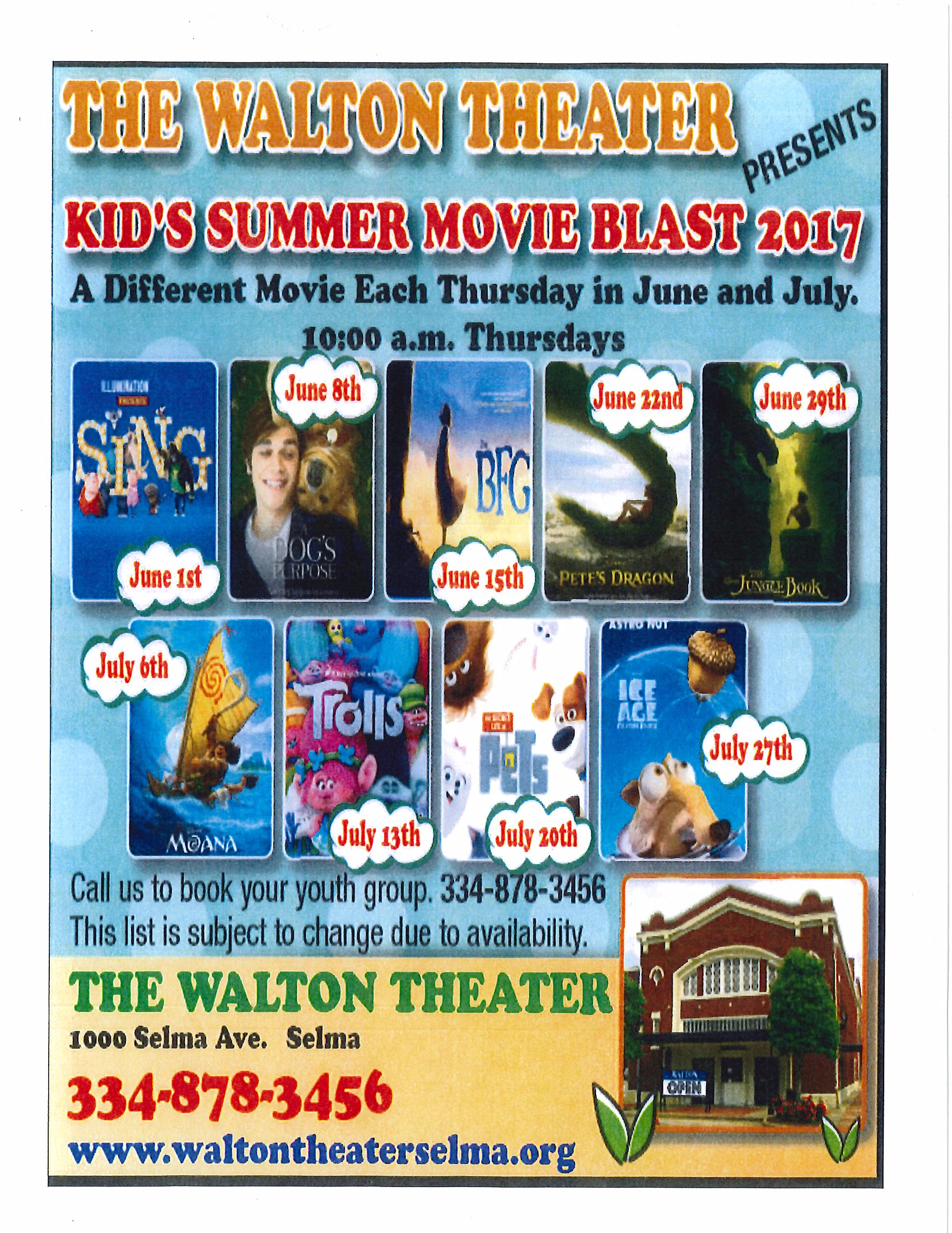 Walton Theater Kids Summer Movie Blast 2017